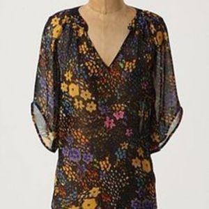 Anthropologie Fei Silk Blooms Eternal Top size 12
